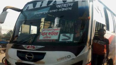 'ধান কাটা শ্রমিকের স্টিকার' নিয়ে মহাসড়কে চলছে দূরপাল্লার বাস